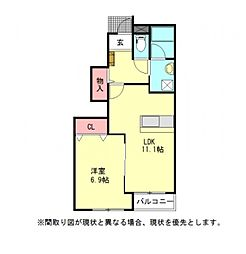 愛知県一宮市松山町の賃貸アパートの間取り
