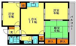 福岡県大野城市筒井3丁目の賃貸マンションの間取り