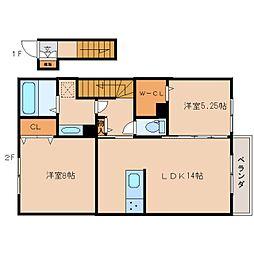 奈良県奈良市西九条町2丁目の賃貸アパートの間取り