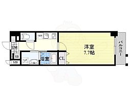 Osaka Metro谷町線 南森町駅 徒歩7分の賃貸マンション 10階1Kの間取り