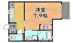 阪急神戸本線 六甲駅 徒歩2分の賃貸アパート 2階1Kの間取り