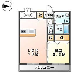 (仮称)精華町北稲八間新築賃貸マンション 1階1LDKの間取り