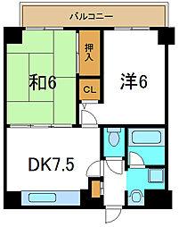 京阪本線 守口市駅 徒歩1分の賃貸マンション 7階2DKの間取り