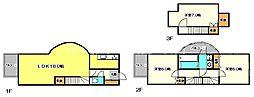 JR中央本線 国立駅 徒歩17分の賃貸テラスハウス 3LDKの間取り