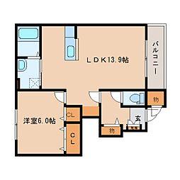 奈良県橿原市白橿町の賃貸アパートの間取り