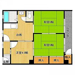 六甲ロイヤルマンション[2階B号室号室]の間取り