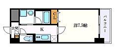 名古屋市営桜通線 高岳駅 徒歩9分の賃貸マンション 6階1Kの間取り