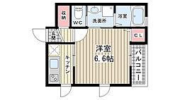 兵庫県神戸市中央区下山手通9丁目の賃貸アパートの間取り