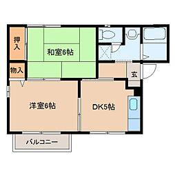 奈良県橿原市上品寺町の賃貸アパートの間取り