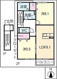 MARCHE高茶屋[2階]の間取り