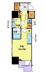 JR山手線 浜松町駅 徒歩9分の賃貸マンション 7階1Kの間取り