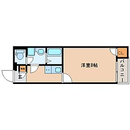 近鉄大阪線 五位堂駅 徒歩15分の賃貸アパート 2階1Kの間取り