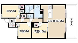 愛知県名古屋市昭和区楽園町の賃貸マンションの間取り