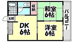 大阪府堺市西区鳳中町4丁の賃貸マンションの間取り