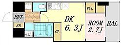 セレニテ桜川駅前プリエ 6階1DKの間取り