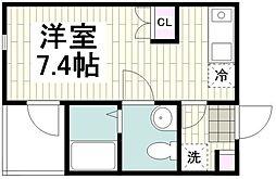 小田急江ノ島線 長後駅 徒歩6分の賃貸アパート 1階1Kの間取り