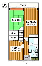 内田マリンハイツ[204号室]の間取り