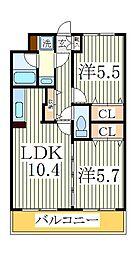 ヴィルトゥオルグージョ[2階]の間取り