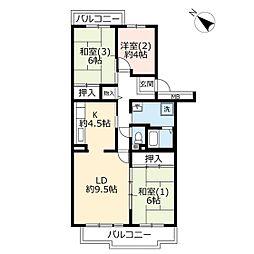 URパークシティ鴻巣駅前プラザ第三 4階3LDKの間取り