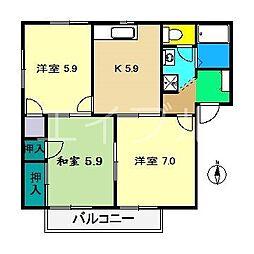 クレセントガーデン A棟[1階]の間取り