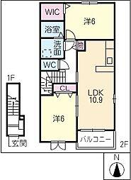 フランメゾン A棟[2階]の間取り