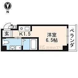 marubu 4階1Kの間取り