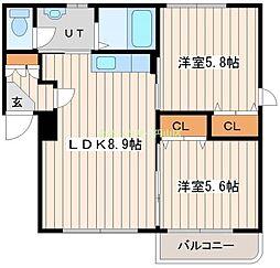 KAURI FLATVIII 2階2LDKの間取り