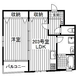 東京都世田谷区代沢1丁目の賃貸マンションの間取り