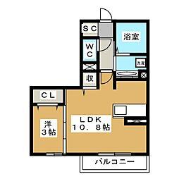 (仮)神明町D-room 1階1LDKの間取り