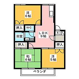 ツインパークA棟[1階]の間取り
