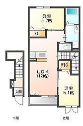 熊野新築アパート[2階]の間取り