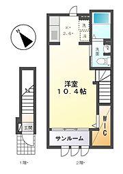 愛知県名古屋市緑区境松1丁目の賃貸アパートの間取り