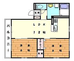 パームツリーB[2階]の間取り