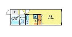 MODULOR赤坂 2階1Kの間取り
