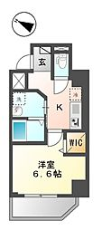仮称)新宿区山吹町マンション新築工事 5階1Kの間取り