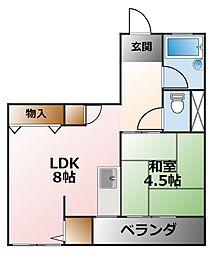 コーポマエダI[5階]の間取り