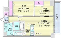 仙台市営南北線 仙台駅 徒歩15分の賃貸マンション 4階2LDKの間取り