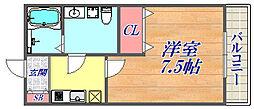LOTUS Tsukaguchi2 3階1Kの間取り