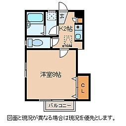 長野県諏訪市湯の脇2丁目の賃貸アパートの間取り