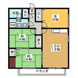 シャトレ花水木[2階]の間取り