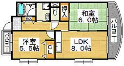 ディーセント北花田[5階]の間取り