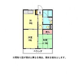 愛知県一宮市開明字新田郷の賃貸アパートの間取り
