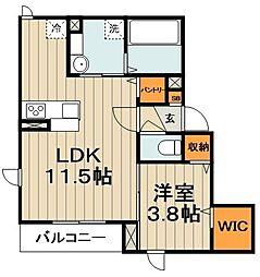 (仮称)台東区千束計画 2階1LDKの間取り