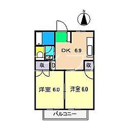 フレグランス鴨部I[2階]の間取り