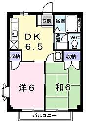 千葉県茂原市六ツ野の賃貸アパートの間取り