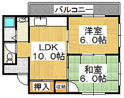 大阪府堺市堺区今池町6丁の賃貸マンションの間取り