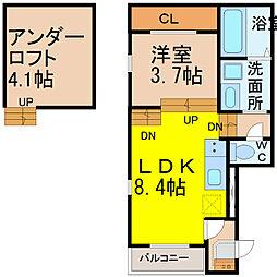 愛知県名古屋市熱田区八番2丁目の賃貸アパートの間取り