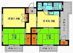 福岡県春日市一の谷1丁目の賃貸マンションの間取り
