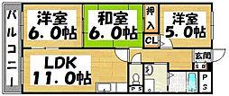 福岡県太宰府市都府楼南4丁目の賃貸マンションの間取り