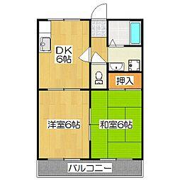 京都府京都市伏見区向島中島町の賃貸アパートの間取り
